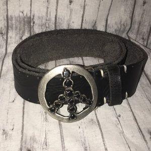 Peace Sign Black Distressed Leather Belt